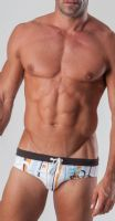 Geronimo Mens Swimwear Striped Low Rise Brief Trunks White Orange 15033